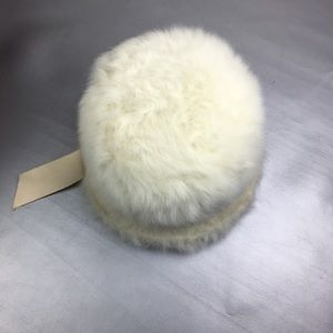 Vintage ivory rabbit fur bucket hat